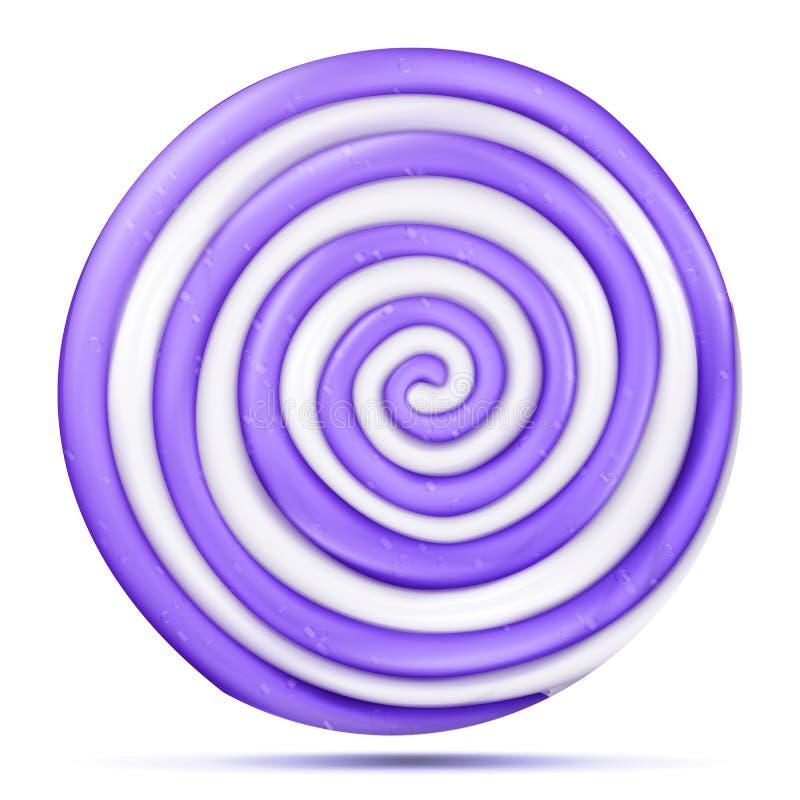 Lizaka Odosobniony wektor Realistycznego cukierku purpur spirali Round ilustracja Klasyczny Cukrowy karmel ilustracji