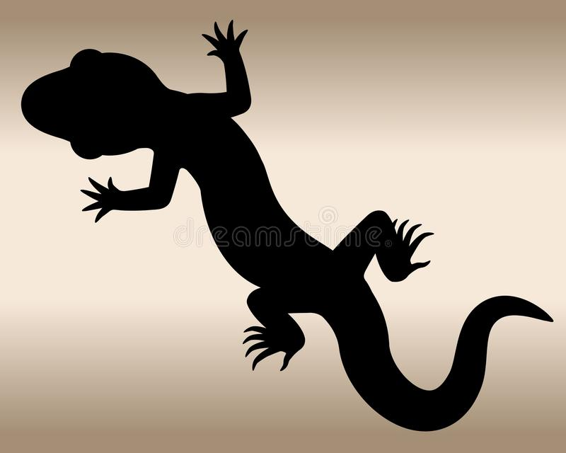 Lizard. The black silhouette of a reptile. Vector illustration royalty free illustration