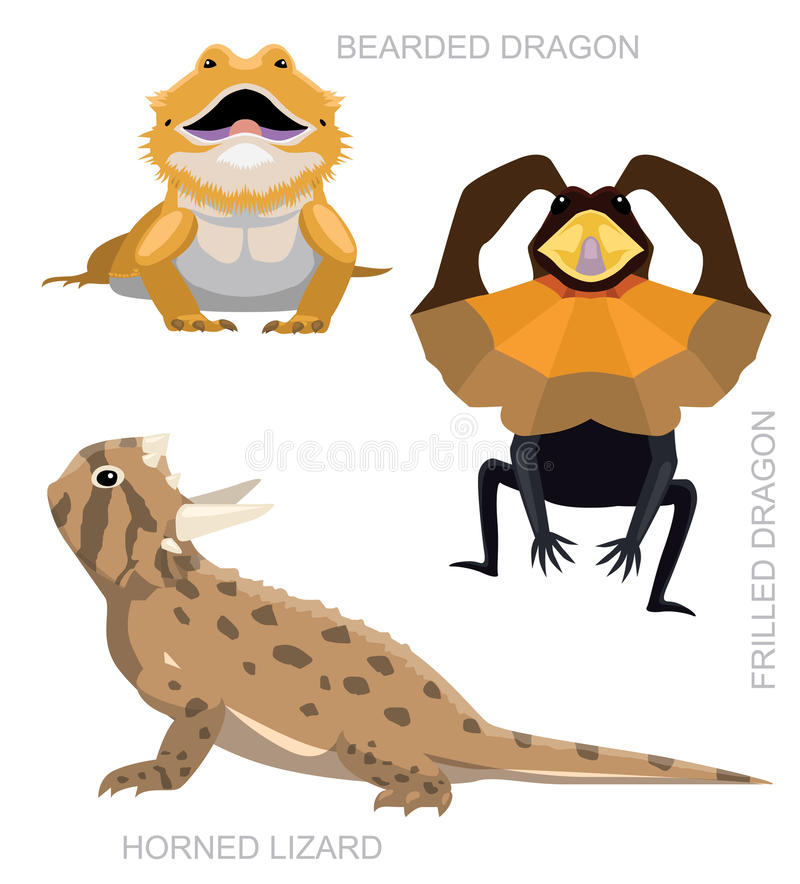 Lizard Dragon Set Cartoon Vector Illustration. Animal Cartoon EPS10 File Format royalty free illustration