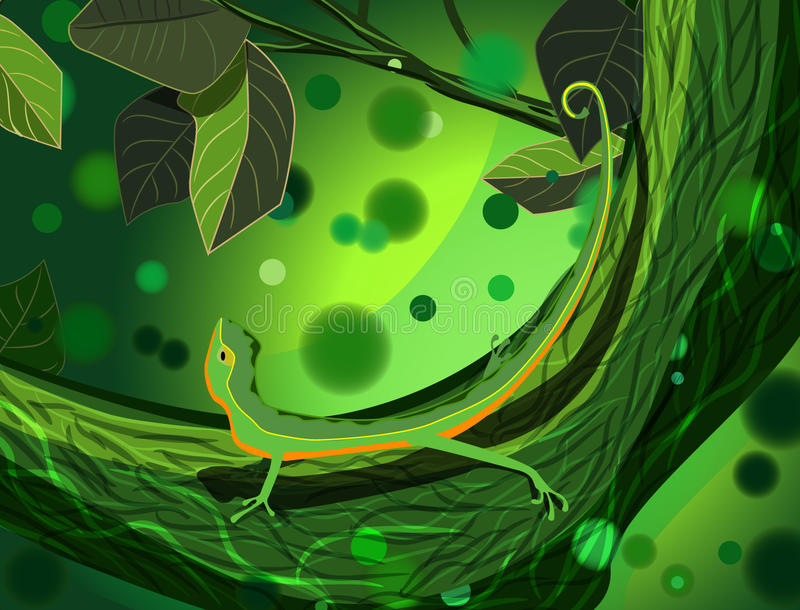 Lizard in forest vector illustration