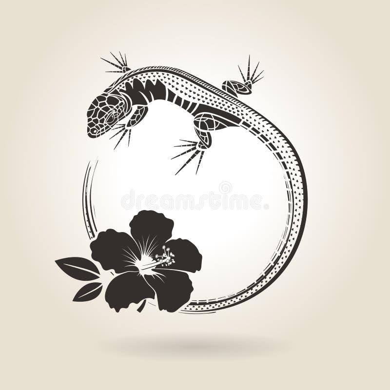 Lizard and Hibiscus stock illustration