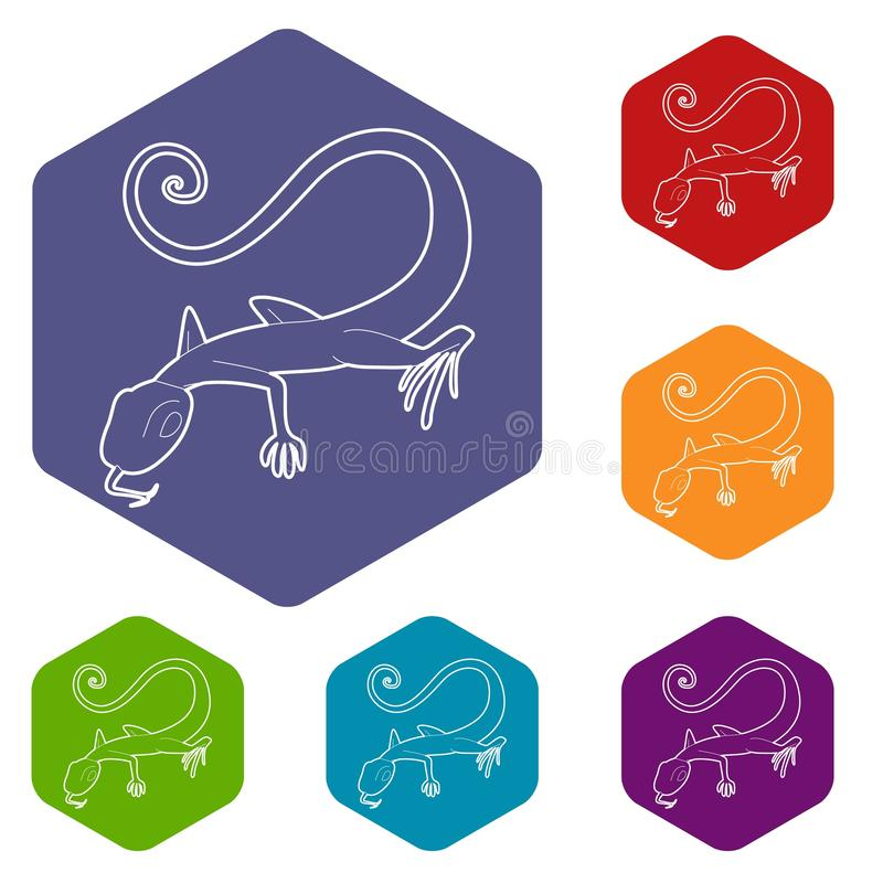 Lizard icon, outline style vector illustration