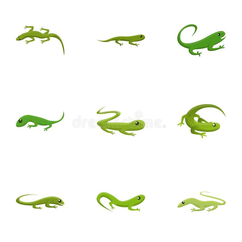 Lizard icon set, cartoon style. Lizard icon set. Cartoon set of 9 lizard vector icons for web design isolated on white background vector illustration