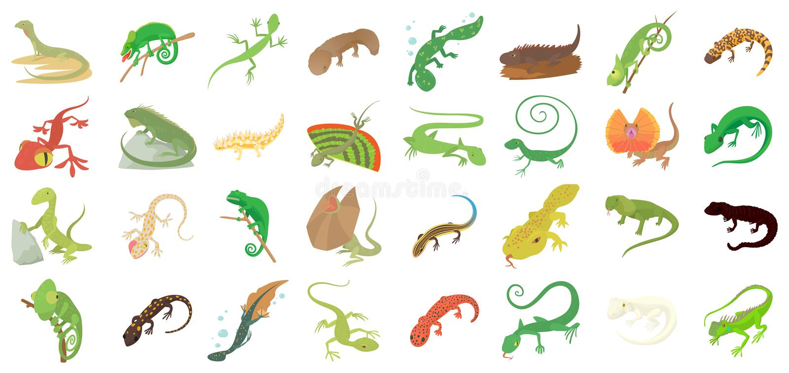 Lizard icon set, cartoon style. Lizard icon set. Cartoon set of lizard vector icons for web design isolated on white background stock illustration