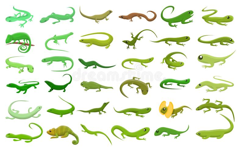 Lizard icons set, cartoon style royalty free illustration