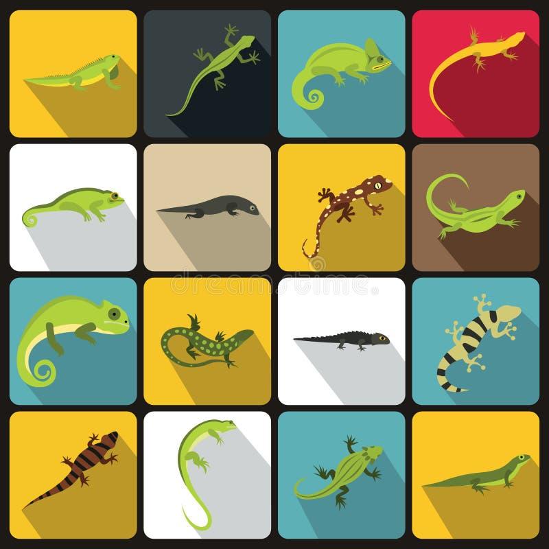 Lizard icons set, flat style vector illustration