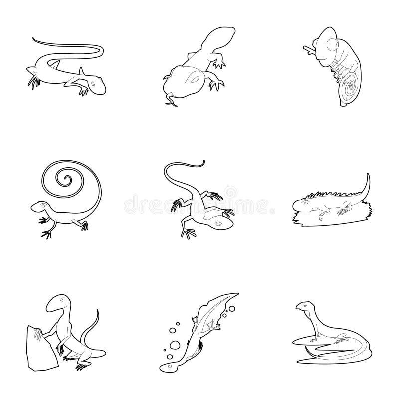 Lizard icons set, outline style stock illustration