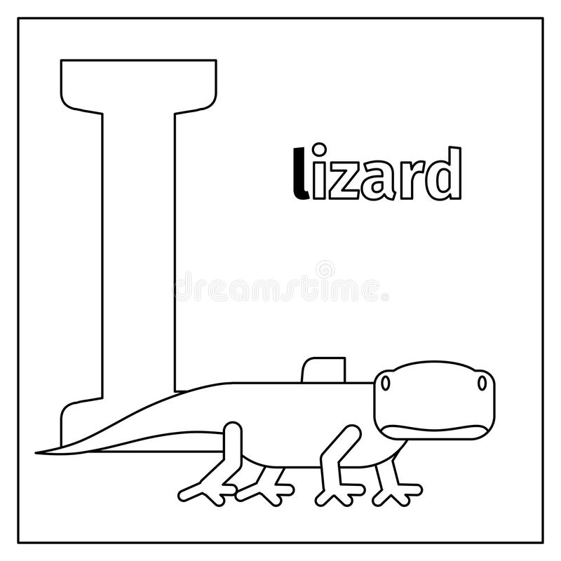 lizard letter l coloring page stock vector illustration of