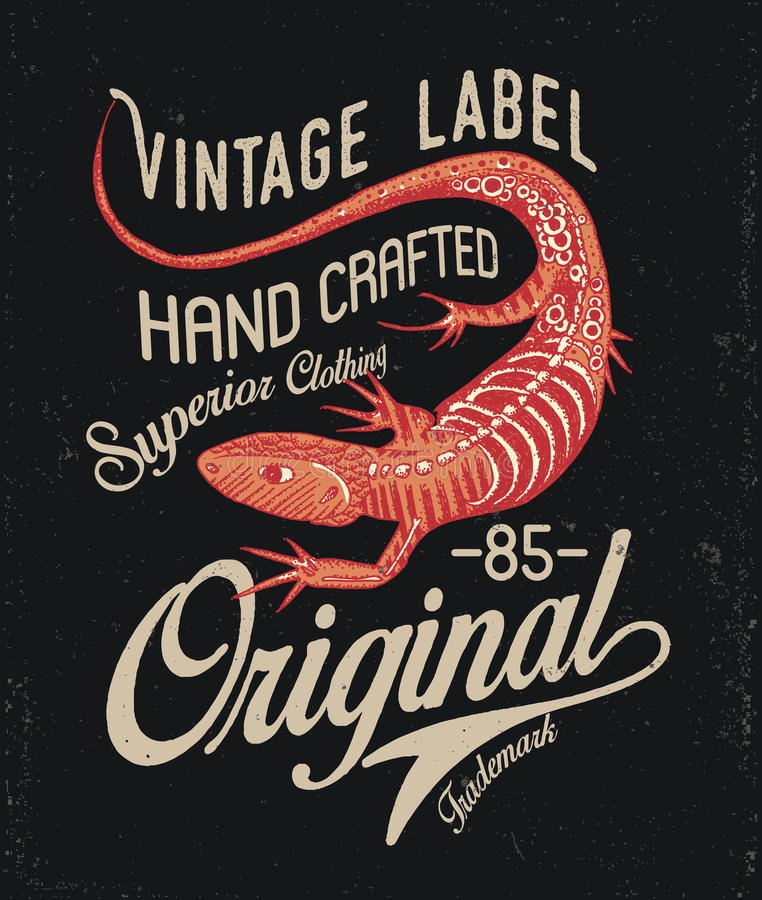 Lizard Print Design. Lizard Vintage Print Design Badge royalty free illustration