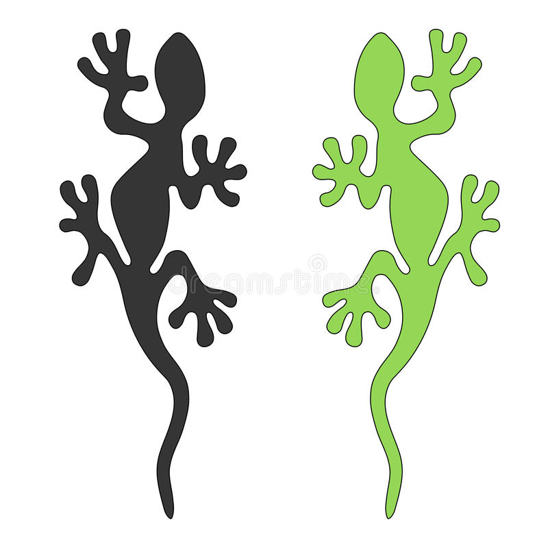 Lizard silhouette, cut out vector image. Gecko sign color tattooage pattern royalty free illustration