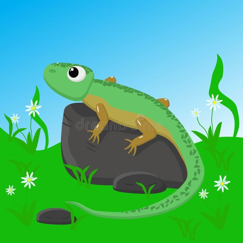 Lizard on stone - vector illustration, eps vector illustration