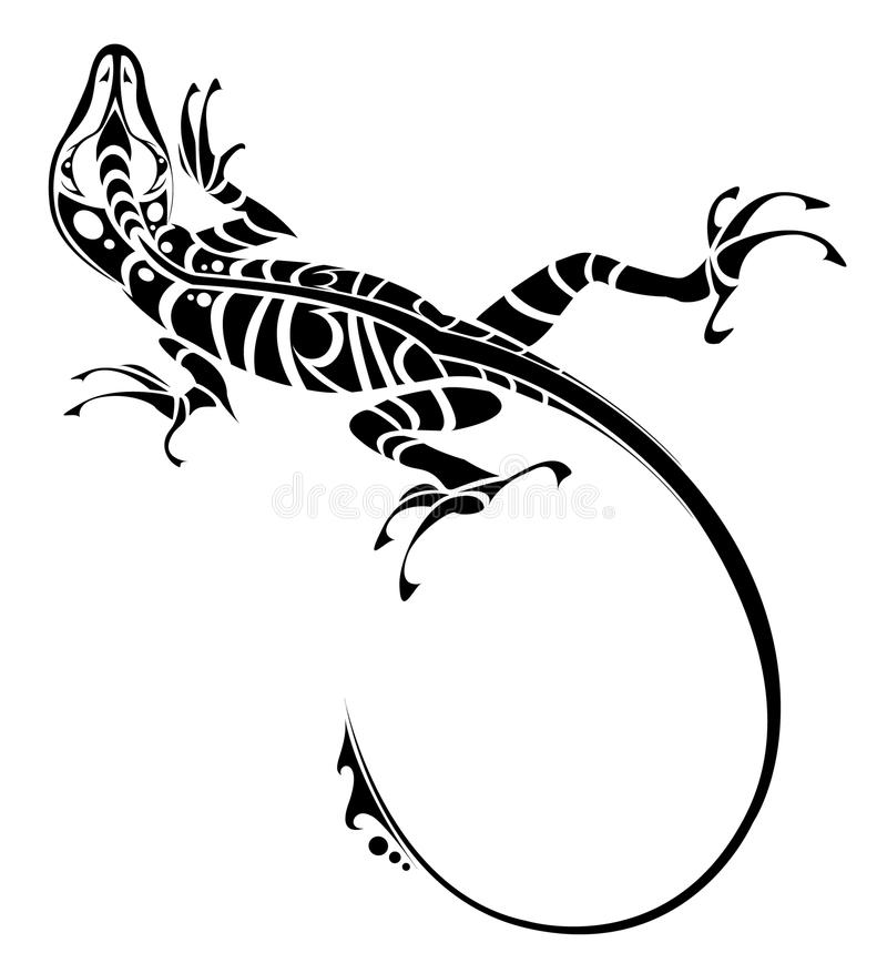 Lizard tattoo stock illustration