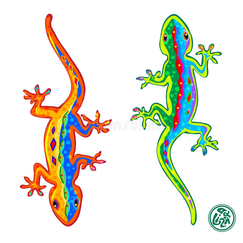 Lizards. Beautiful stylized colored lizards on white background, Gecko. Vector illustration royalty free illustration