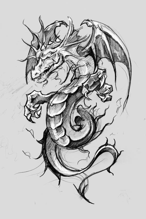 Lizzard del drago, schizzo del tatuaggio, progettazione fatta a mano sopra pape d'annata fotografie stock libere da diritti