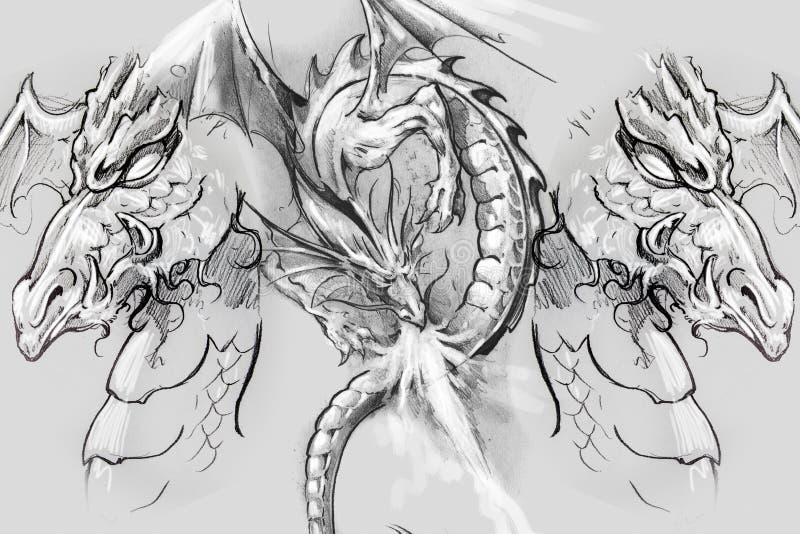 Lizzard del drago, schizzo del tatuaggio, progettazione fatta a mano sopra pape d'annata immagini stock libere da diritti