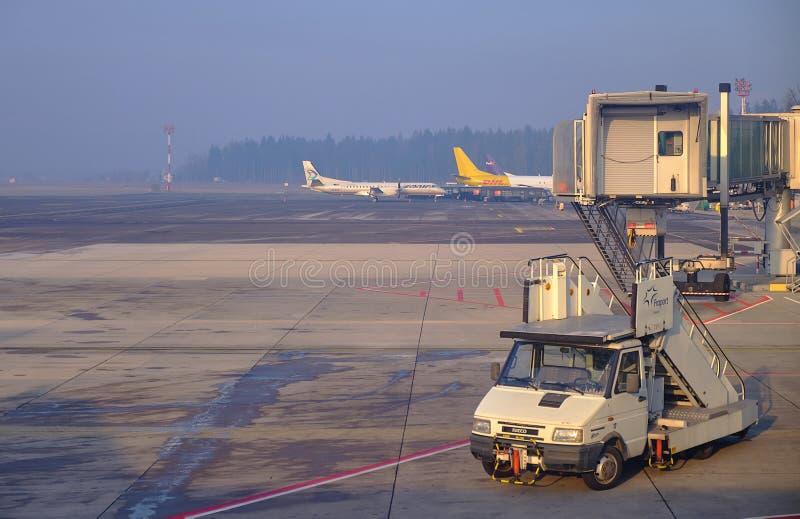 LJU терминала восхождение на борт рождества pre стоковые изображения