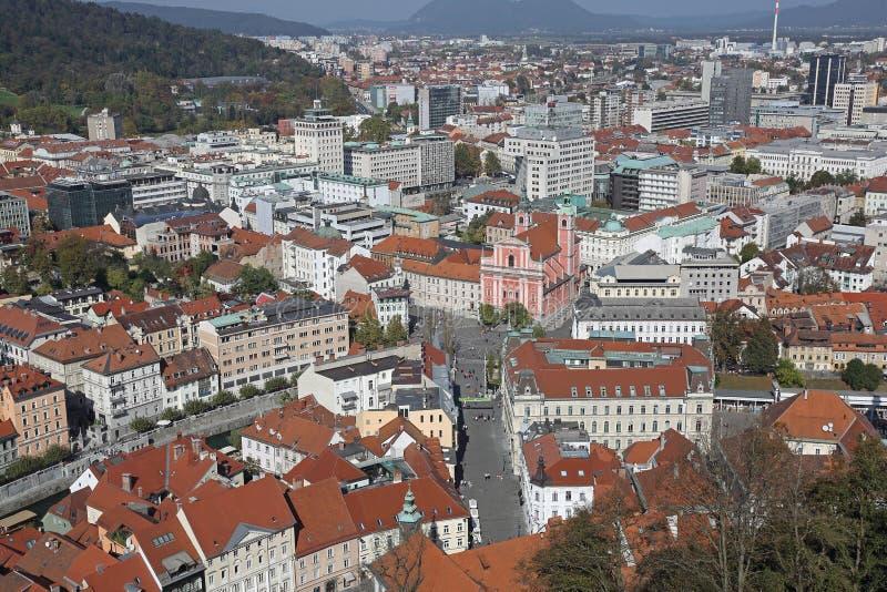 Ljubljana aérea foto de archivo libre de regalías