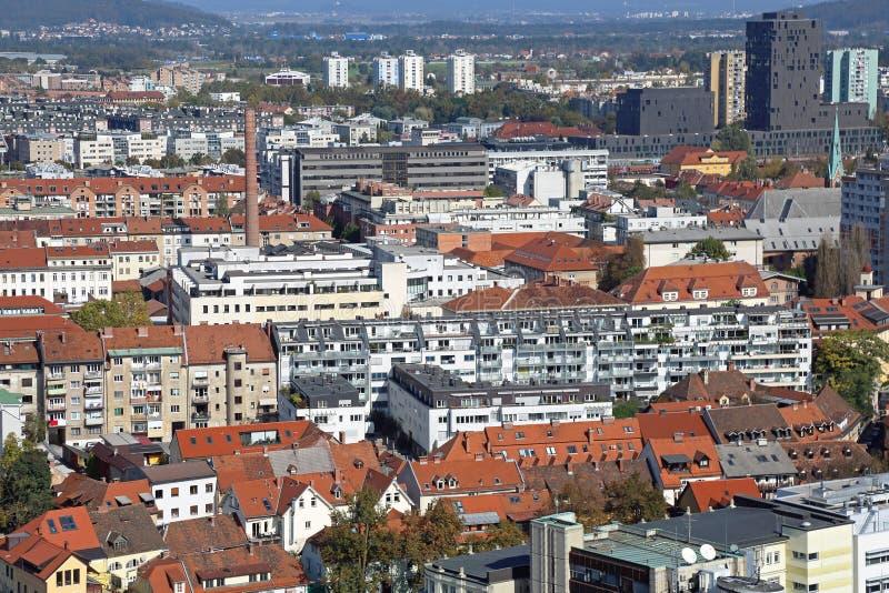 Ljubljana aérea fotografía de archivo libre de regalías