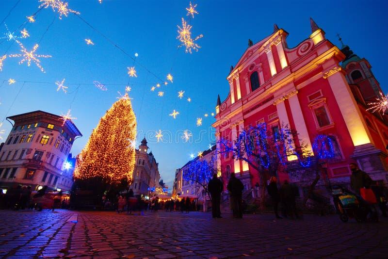 Ljubljana bis zum Nacht, Slowenien stockfoto