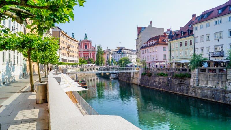 Ljubljana brzeg rzeki 2 zdjęcia stock