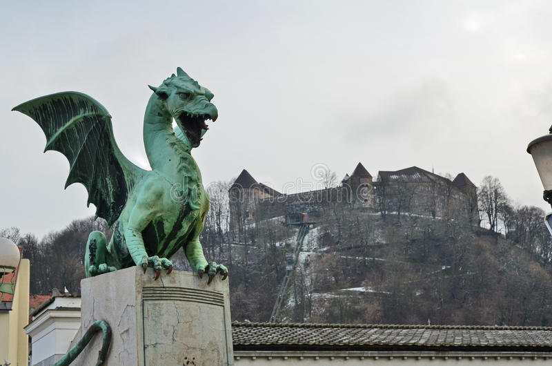Ljubljana castle in the background of the Dragon b