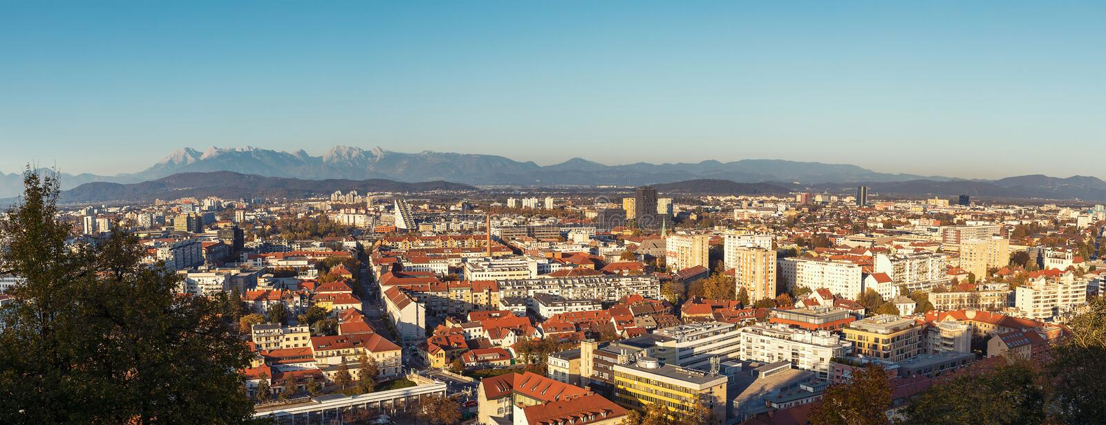 Ljubljana city panorama image taken from the castle. On the hill, Slovenia royalty free stock photography