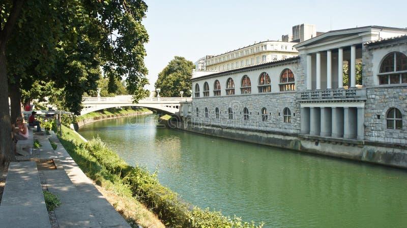 Ljubljana, Eslovenia - 07/19/2015 - vista del terraplén del río de Ljubljanica en ciudad vieja, paisaje urbano con un puente, her imagenes de archivo
