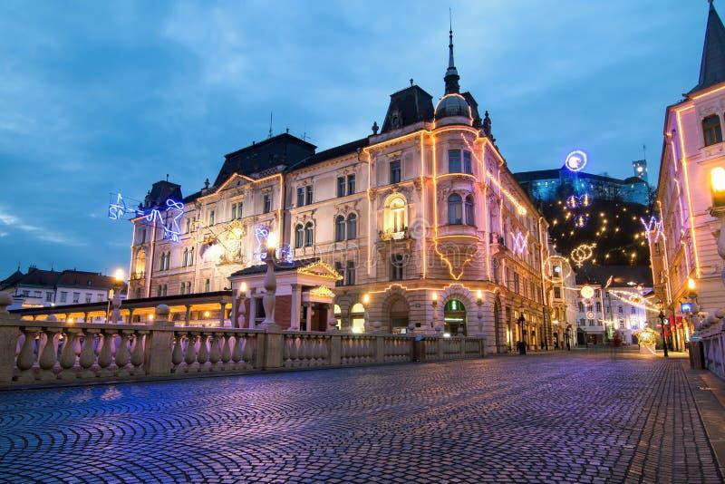 Ljubljana, iluminujący dla nowego roku świętowania, Ljubljana, Slovenia fotografia stock