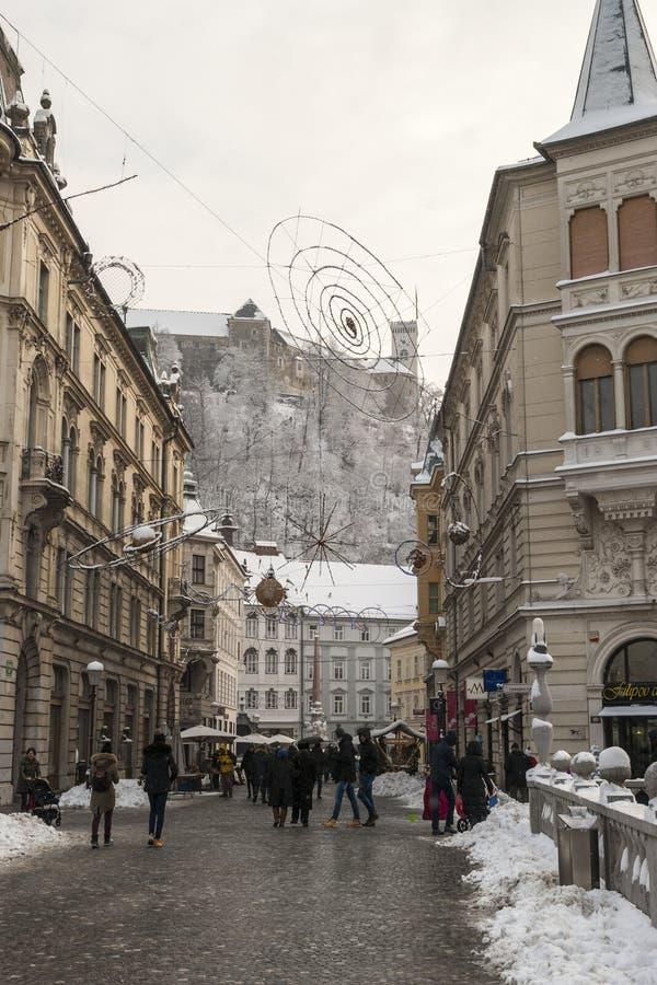 Ljubljana im Winter, Slowenien lizenzfreie stockfotografie
