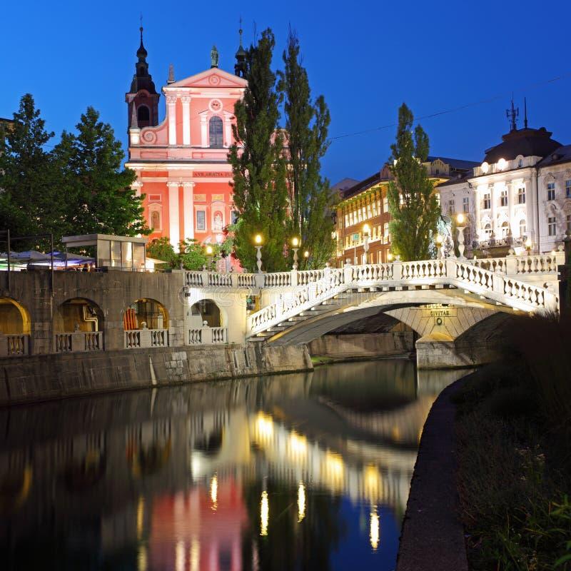 Ljubljana at night, Slovenia royalty free stock photos