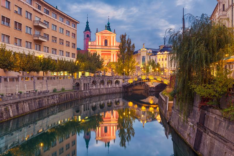 Ljubljana at night, Slovenia stock images