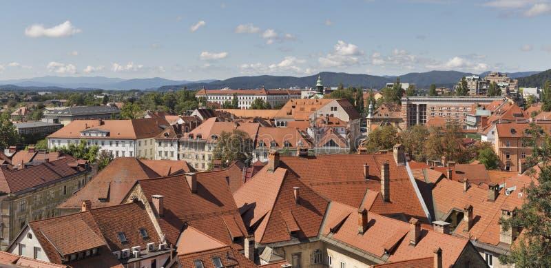Ljubljana pejzaż miejski z dachowymi płytkami, Slovenia obraz royalty free