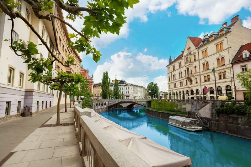 Ljubljana rzeki bulwar fotografia royalty free