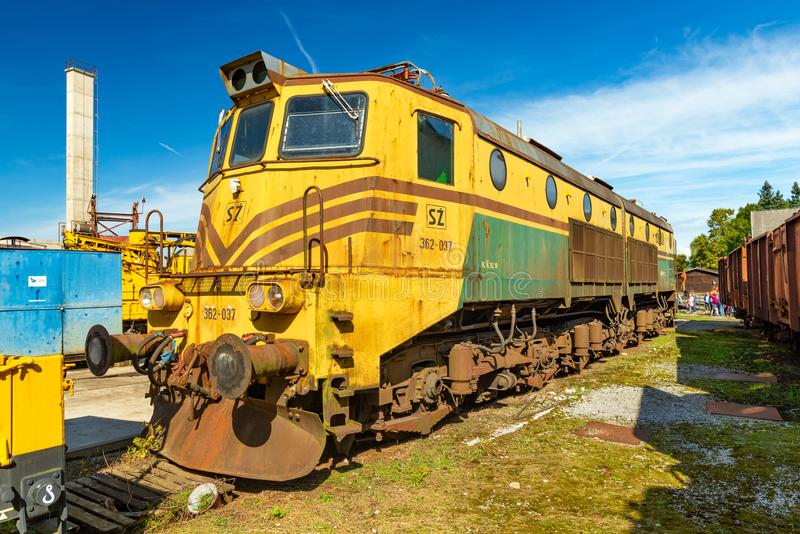 An old locomotive in The Slovenian Railway Museum stock photography