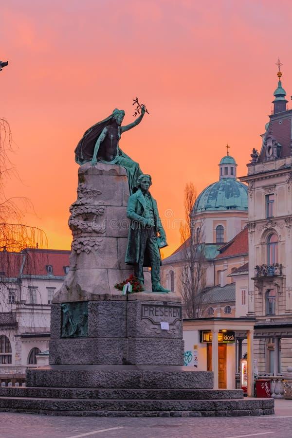 Ljubljana, Slovénie - 8 février 2019 : Monument consacré au plus grand poète dans l'histoire slovène France Preseren le jour images stock