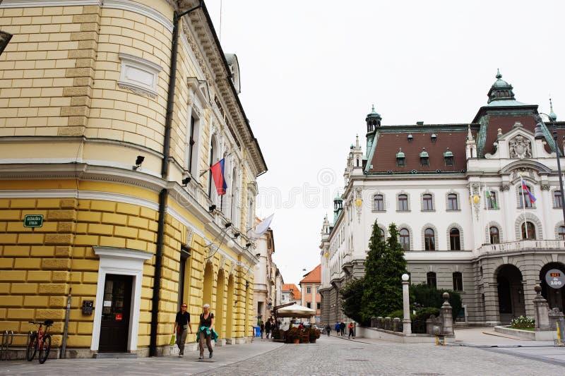 LJUBLJANA, SLOVENIË - AUGUSTUS 15, 2017: Universiteit van het centrum van Ljubljana en van de stad royalty-vrije stock afbeelding