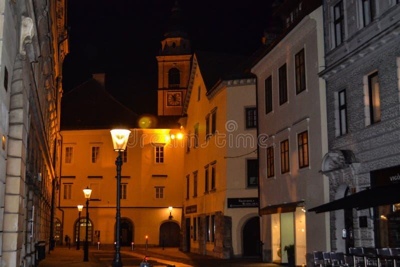 Ljubljana, Slovenië bij nacht stock fotografie