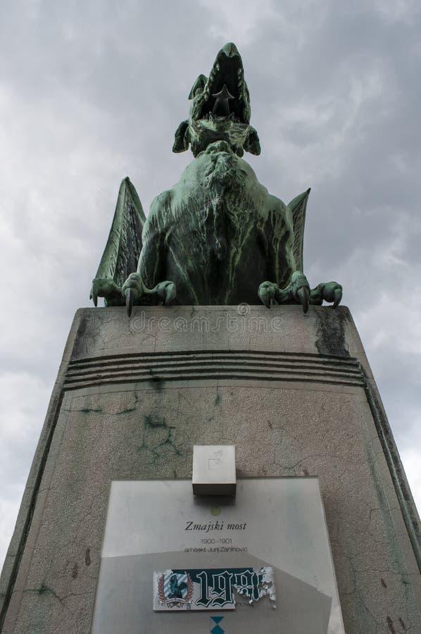 Ljubljana, Slovenië, Europa, Draakstandbeeld, Dragon Bridge, Zmajski het meest, legendarische dieren royalty-vrije stock foto's