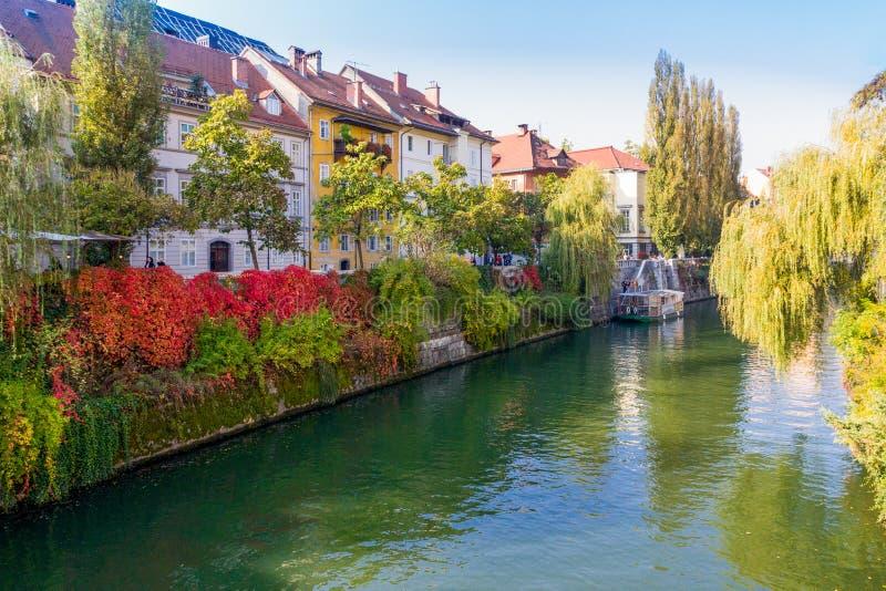 Ljubljana, Slovenië - kleurrijke riverfrontmening in de herfst, 13 van stock fotografie