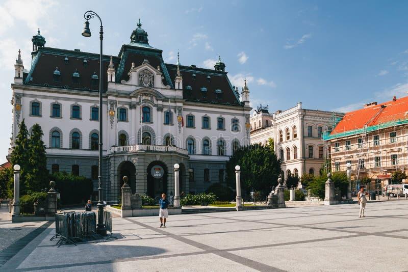 Ljubljana, Slovenië - September, 8 2018: De Administratieve Bouw van de Universiteit van Ljubljana, het oudst en het grootst stock afbeelding