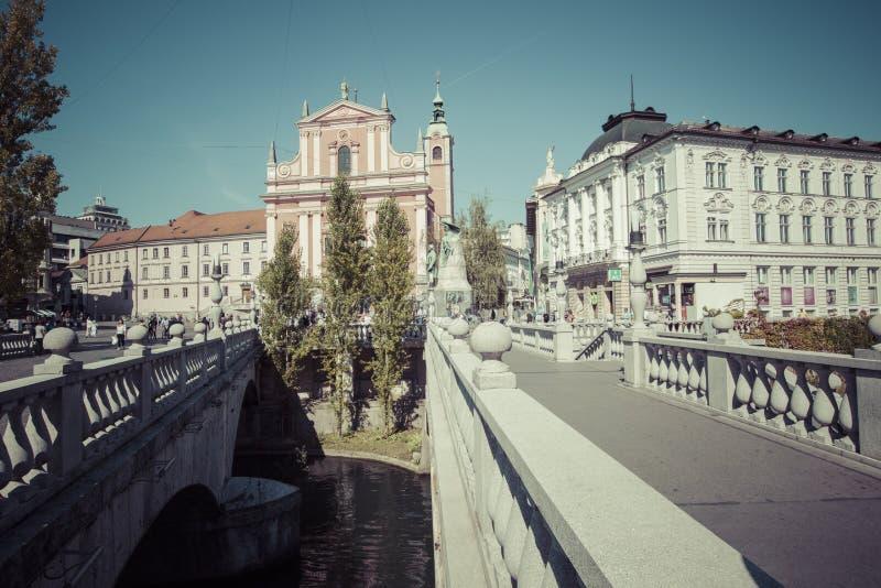 LJUBLJANA, SLOVENIË - SEPTEMBER 24, 2016: Preserenvierkant in Lju royalty-vrije stock foto's