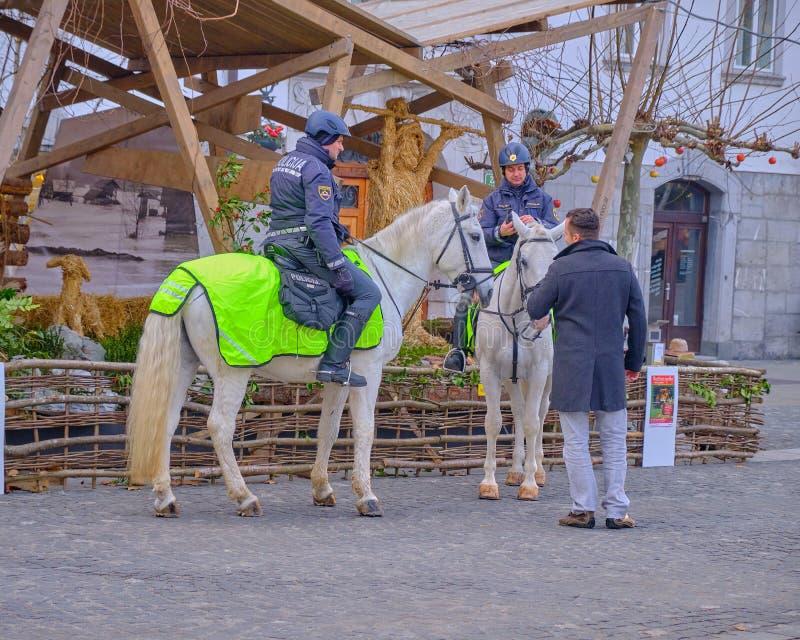 Horseback police Slovenia. stock photo