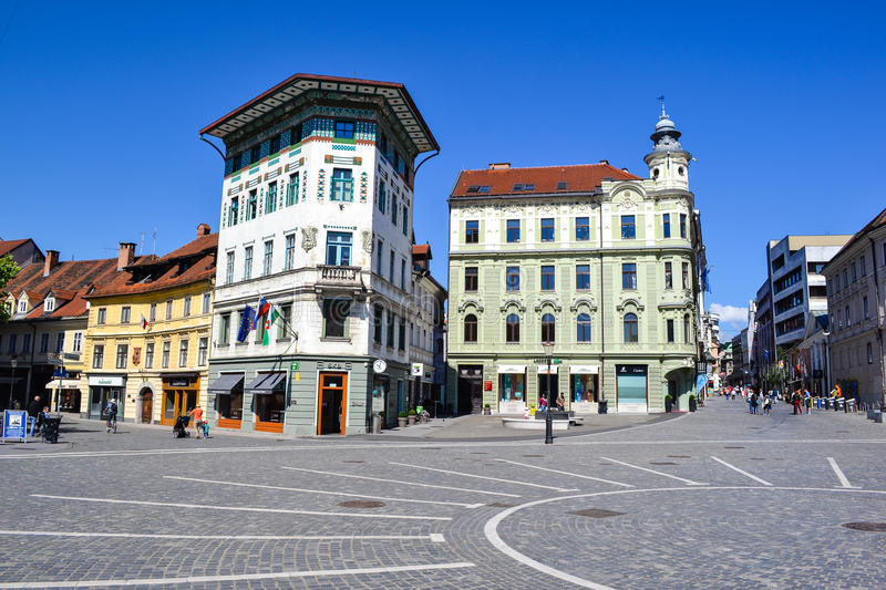 Ljubljana, Slovenia. The main square of Ljubljana, the capital of Slovenia. It is part of the old towns pedestrian zone and a major meeting point, where royalty free stock image