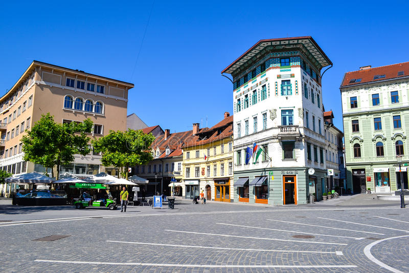 Ljubljana, Slovenia. The main square of Ljubljana, the capital of Slovenia. It is part of the old towns pedestrian zone and a major meeting point, where stock photography