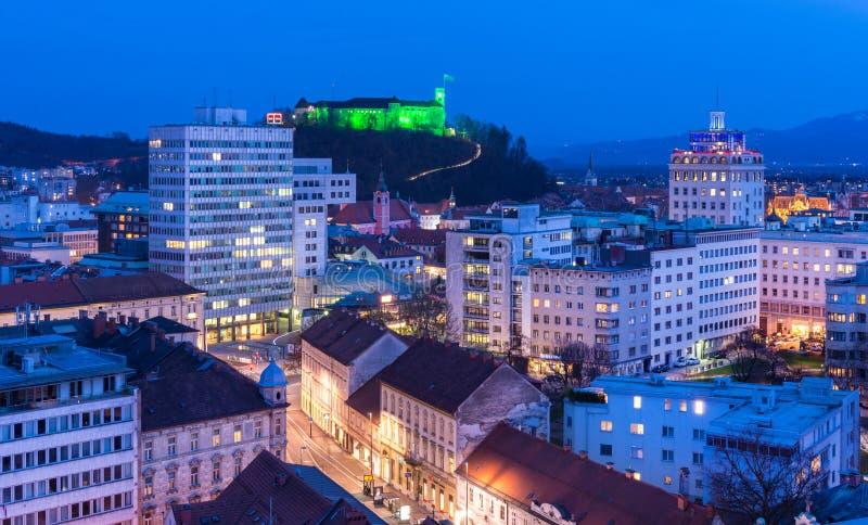 Ljubljana, Slovenia: Night view of the Slovenia`s capital. Ljubljana - March 2016, Slovenia: Night view of the Slovenia`s capital. Office buildings and the old stock images