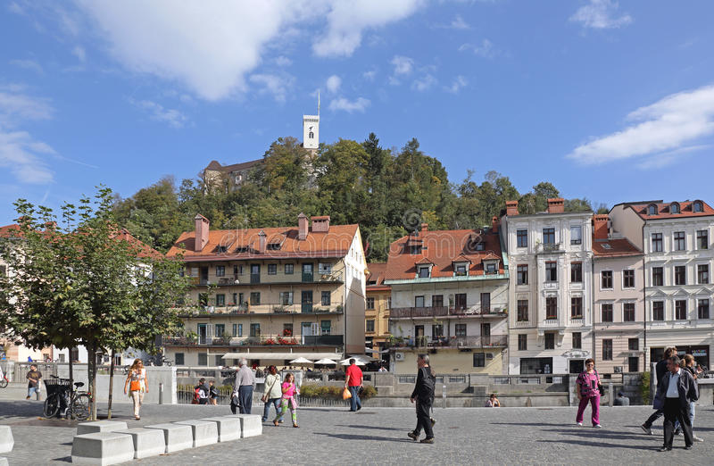 Ljubljana. SLOVENIA - OCTOBER 12: People Walking at New Square in  on OCTOBER 12, 2014. Pedestrians at Novi Trg in , Slovenia royalty free stock photography