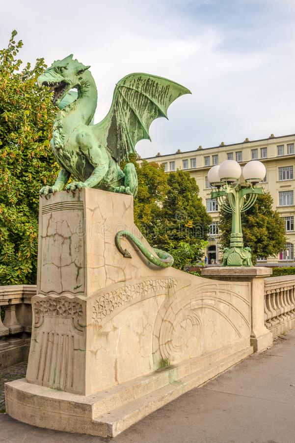 Decoration of Dragon bridge over Ljubljanica river in Ljubljana - Slovenia. LJUBLJANA,SLOVENIA - SEPTEMBER 1,2019 - Decoration of Dragon bridge over Ljubljanica stock images