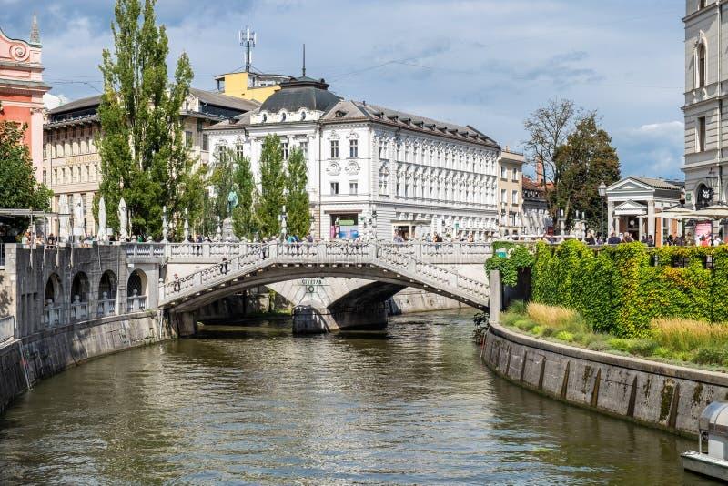 The Triple Bridge is a group of three bridges across the Ljubljanica River. Slovenian capital, Ljubljana royalty free stock photography