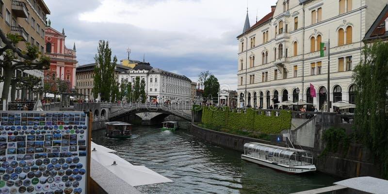Ljubljana-Stadtzentrum in Slowenien stockbilder
