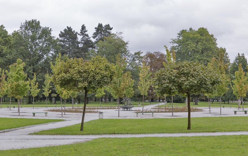 Ljubljana Tivoli Park autumn landscape royalty free stock image